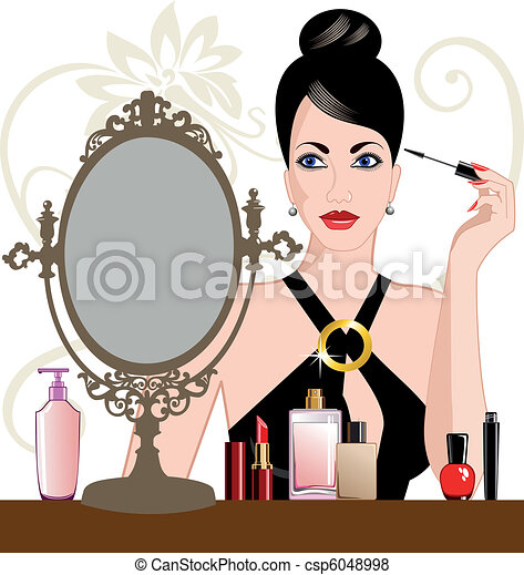 charme, femme, application maquillage - csp6048998