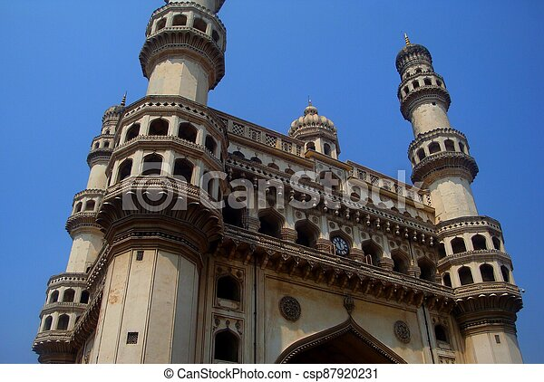 Charminar is a monument and mosque located in Hyderabad, Telangana, India. - csp87920231