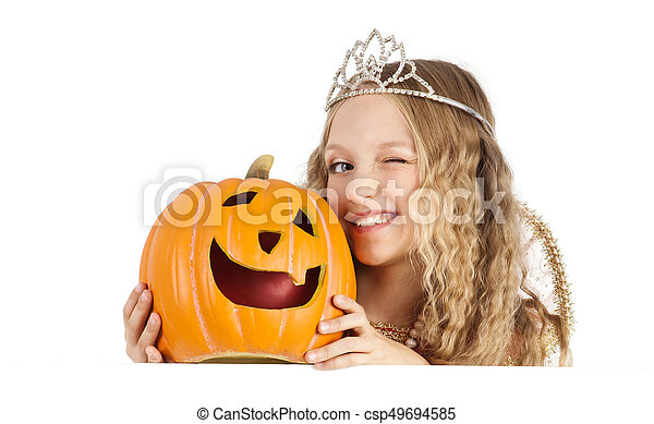 Charming Princess with Pumpkin Holding the Sign - csp49694585