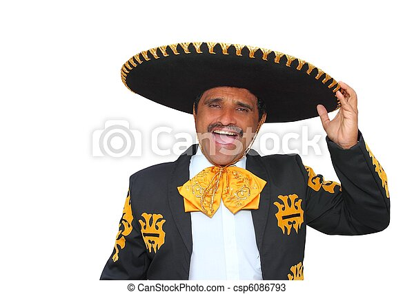 Charro mariachi portrait singing shout on white - csp6086793