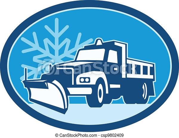charrue, camion, neige, retro - csp9802409