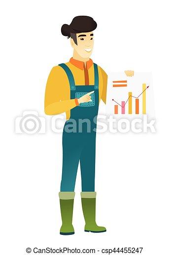 chart., 提示, 財政, アジア人, 農夫 - csp44455247