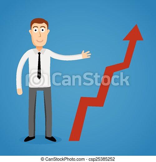 El hombre de negocios presenta una gráfica de crecimiento. - csp25385252