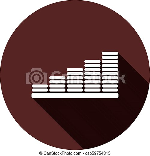 Chart icon with a shadow on a circle of dark red color, vector - csp59754315