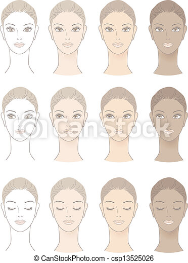Chart Of Beautiful Woman Complexion Without Skin Color And Three