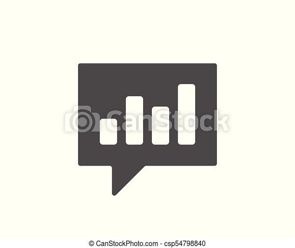 Chart simple icon  Report graph in speech bubble