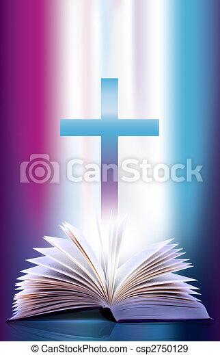 chasquear, abierto, cruz, biblia - csp2750129