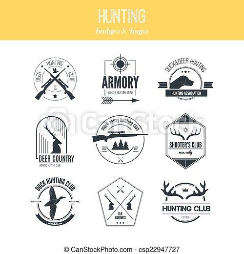 chasse, logos - csp22947727