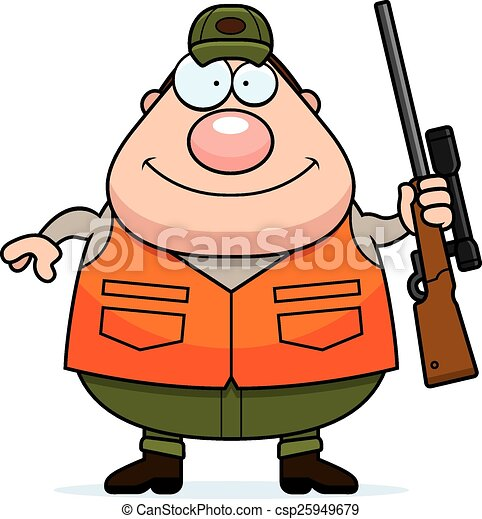 chasseur, dessin animé, fusil - csp25949679