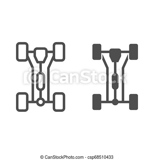 Chassis car line and glyph icon. Car wheels vector illustration isolated on white. Automobile part outline style design, designed for web and app. Eps 10. - csp68510433
