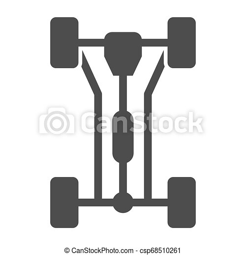 Chassis car solid icon. Car wheels vector illustration isolated on white. Automobile part glyph style design, designed for web and app. Eps 10. - csp68510261
