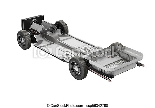 Chassis frame car with wheel. 3d rendering.