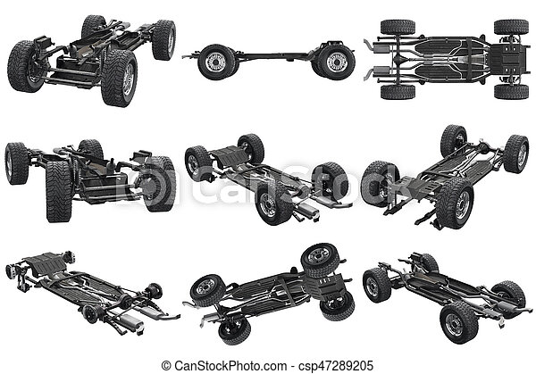 Chassis frame car set. Chassis frame car with wheel set. 3d rendering.