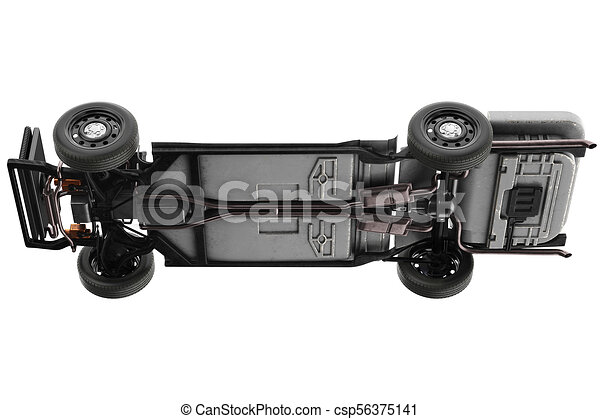 Chassis frame with wheel. Chassis frame with black rubber wheel. 3d ...