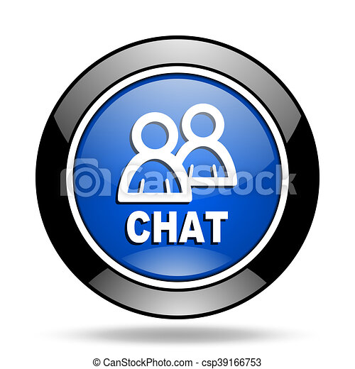 chat blue glossy icon - csp39166753