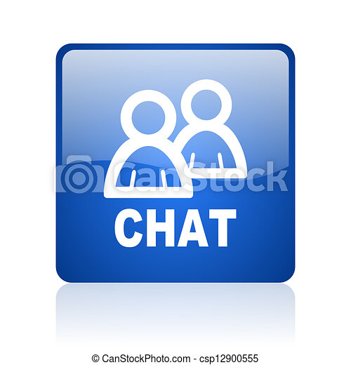 chat blue square glossy web icon on white background - csp12900555