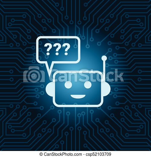 Chat Bot Face Icon With Question Mark Robot Over Blue Circuit Motherboard Background - csp52103709