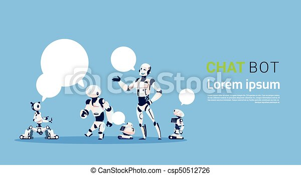 Chat Bot Group, Robots Virtual Assistance Element Of Website Or Mobile  Applications, Artificial Intelligence Concept
