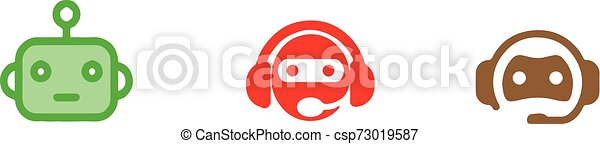 chat bot icon on white background - csp73019587