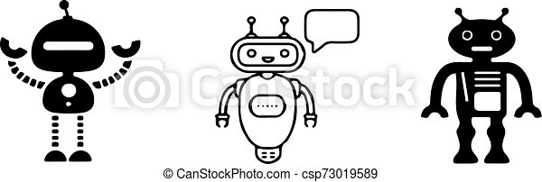 chat bot icon on white background - csp73019589