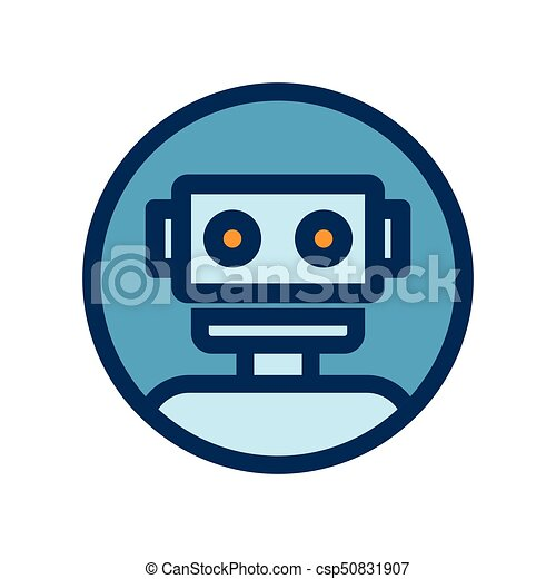 Chat bot icon. Outline robot sign in blue circle. - csp50831907