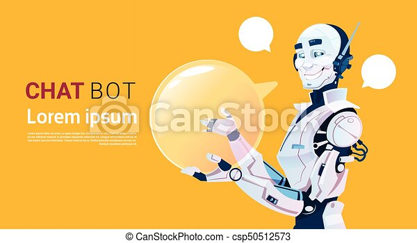 Chat Bot, Robot Virtual Assistance Element Of Website Or Mobile  Applications, Artificial Intelligence Concept