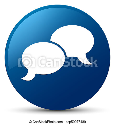 Chat bubble icon blue round button - csp50077489