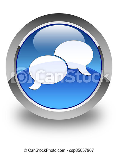 Chat bubble icon glossy blue round button - csp35057967