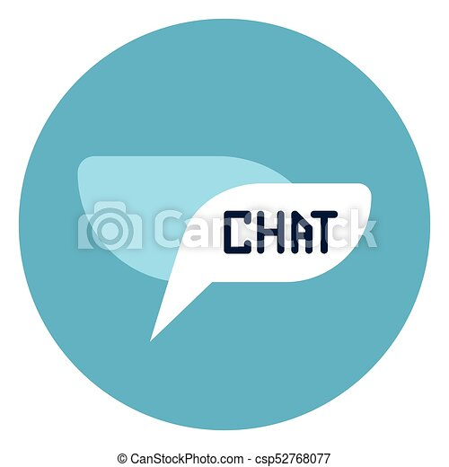 Chat Bubble Icon Web Button On Round Blue Background - csp52768077