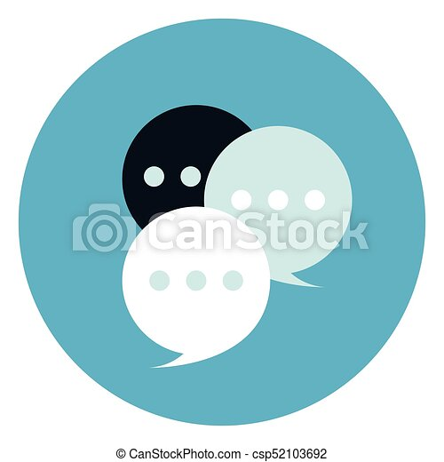 Chat Bubbles Icon On Round Blue Background - csp52103692