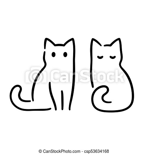 Chat Dessin Minimal Illustration Vecteur Seance Simple Zen Minimal Drawing Chat Deux Style Traditionnel Canstock