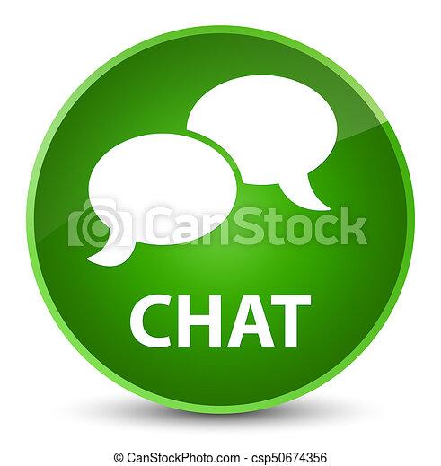 Chat elegant green round button - csp50674356