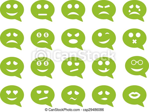 Chat Emotion Smile Icons Vector Set Style Is Flat Images Eco Green