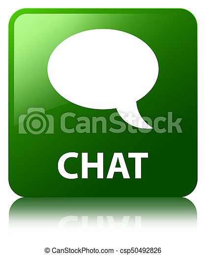 Chat green square button - csp50492826