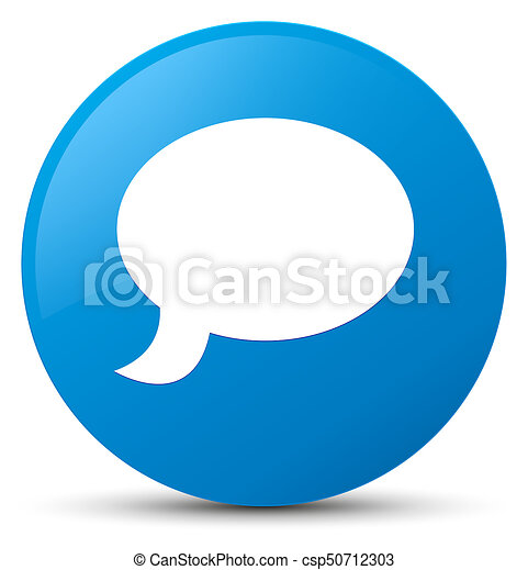 Chat icon cyan blue round button - csp50712303