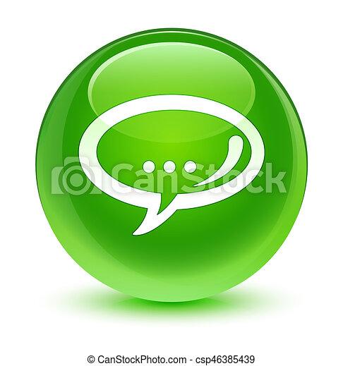Chat icon glassy green round button - csp46385439