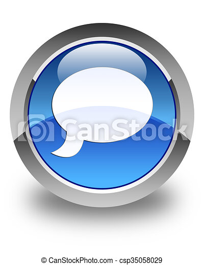 Chat icon glossy blue round button 3 - csp35058029