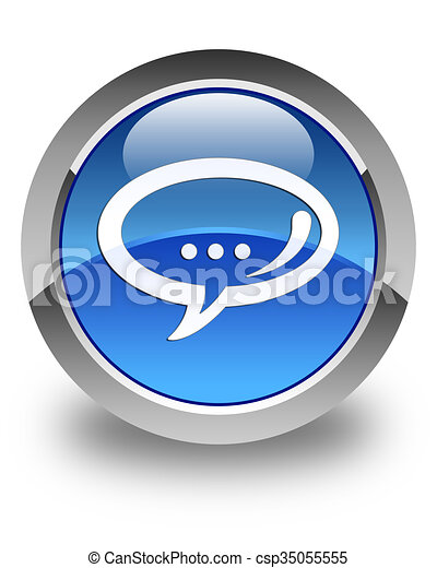 Chat icon glossy blue round button - csp35055555