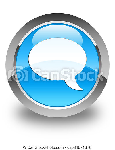 Chat icon glossy cyan blue round button - csp34871378