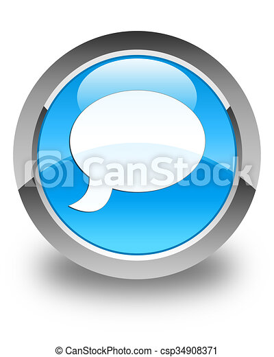 Chat icon glossy cyan blue round button - csp34908371
