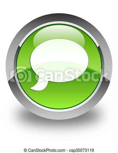 Chat icon glossy green round button 3 - csp35073119