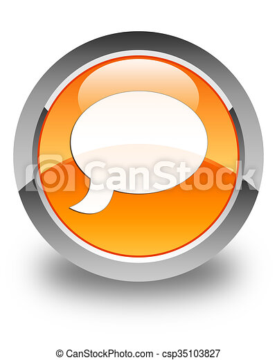 Chat icon glossy orange round button 3 - csp35103827