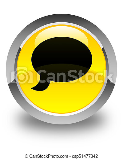 Chat icon glossy yellow round button - csp51477342