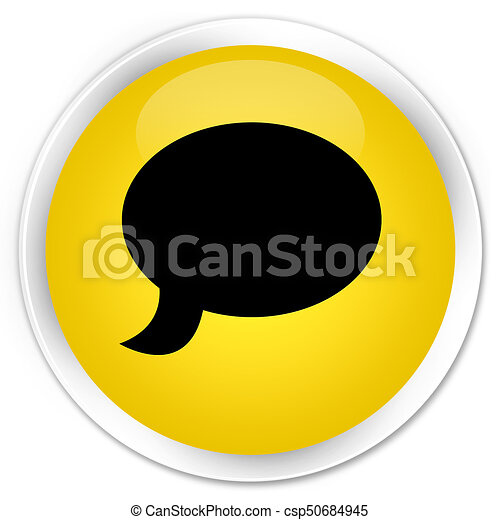 Chat icon premium yellow round button - csp50684945