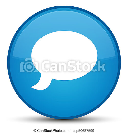 Chat icon special cyan blue round button - csp50687599