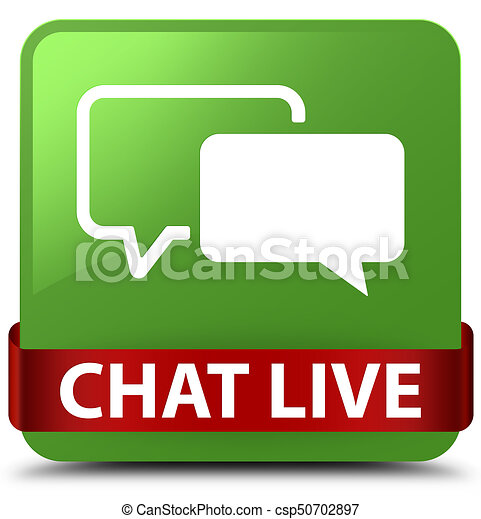 Chat live soft green square button red ribbon in middle - csp50702897