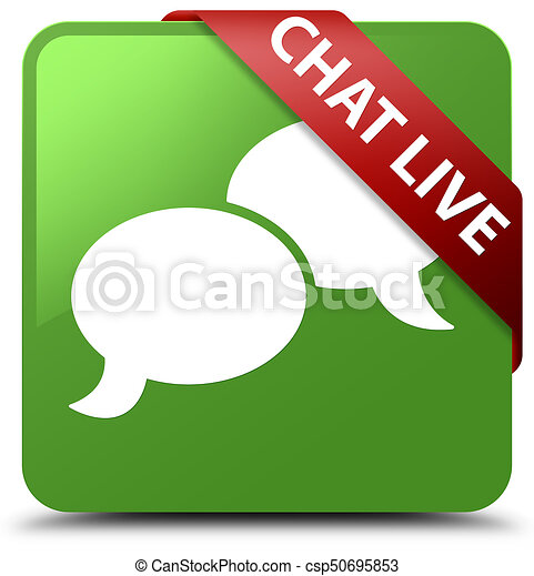 Chat live soft green square button red ribbon in corner - csp50695853