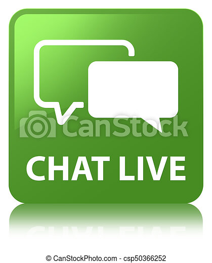 Chat live soft green square button - csp50366252