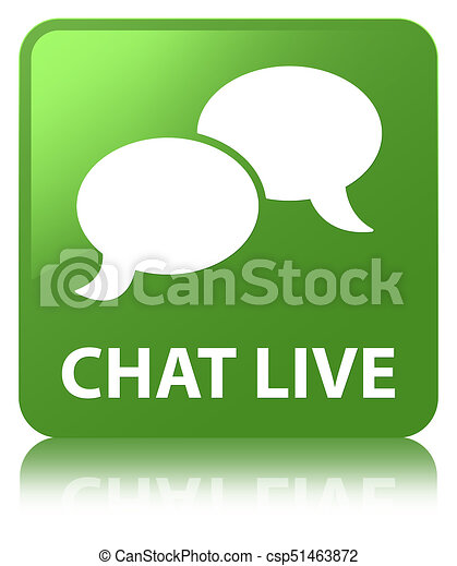 Chat live soft green square button - csp51463872