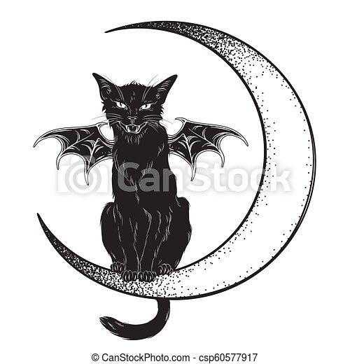 Chat Noir Croissant De Lune Seance Art Dotwork Conception